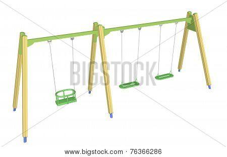 Child-safe Swing, 3D Illustration