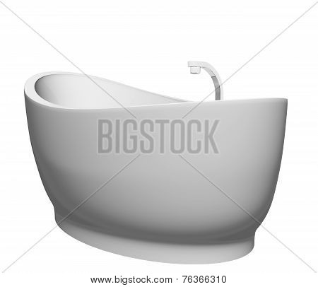 Pedestal modern white bathtub with stainless steel fixtures isolated against a white background poster