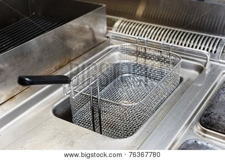 Deep fryers at commercial kitchen