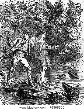 Dramas Of India. Ah! My God, Caimans!, Vintage Engraving.