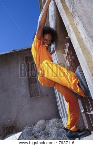 Young Man Escaping From Prison
