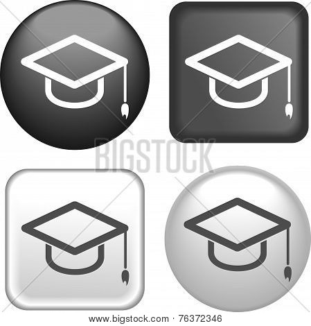 Graduation Cap Icon On Buttons Collection