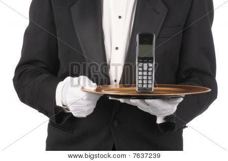 Butler With Phone On Tray