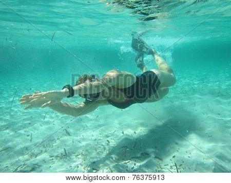 Female Swimmer Diving Underwater