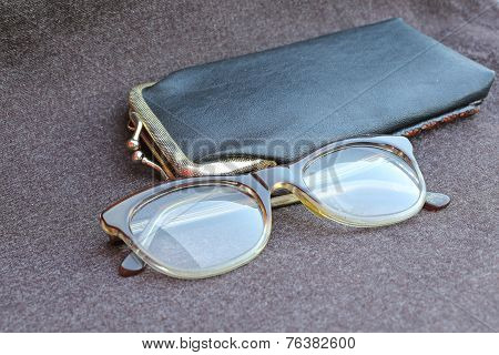 Old Glasses Of An Old Woman With Black Leather Case