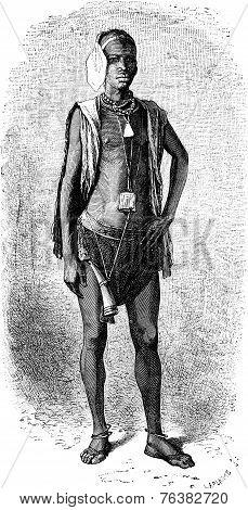 Top Senegal Fulani vintage engraved illustration. Le Tour du Monde Travel Journal (1872). poster