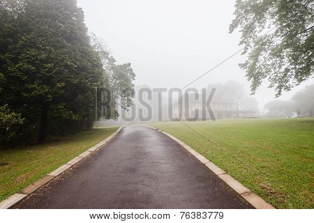 Home Mansion Morning Mist Countryside