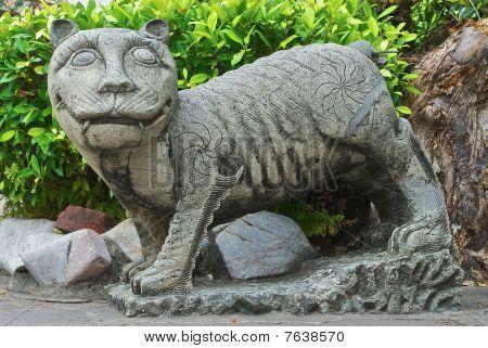 Cat in a Buddhist garden