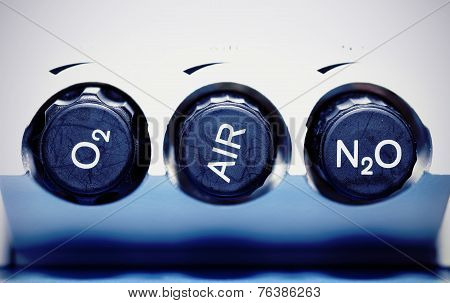 Air, Oxygen, Nitrous Oxide - Medical Gases. Concept.