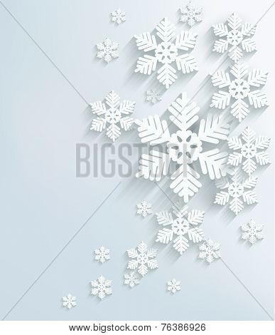 Christmas postcard with snowflakes.  poster