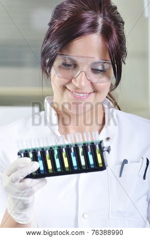 Attractive Young Phd Student Scientist In Laboratory