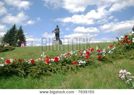 ST.PETERSBURG RUSSIA - MAY 9 - Piskaryovskoye cemetery