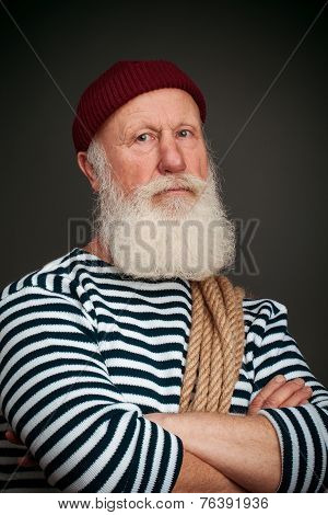 Handsome Sailor Isolated. Seaman.