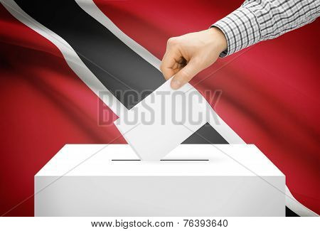 Voting Concept - Ballot Box With National Flag On Background - Trinidad And Tobago