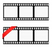 film strip frame background with ribbon poster