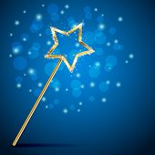 Golden magic wand on blue background illustration. poster