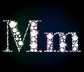 "Diamond glittering letter ""M"" of sparkling brilliants (glitter font concept) poster"