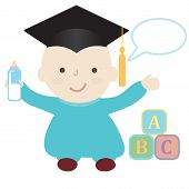 Happy baby wearing a graduation cap with empty speech bubble for your text. poster