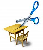 School budget cuts crisis concept and education cutbacks symbol as an old class desk being cut by scissors. poster