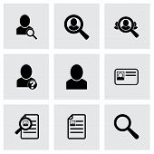 Vector people search icon set on grey background poster
