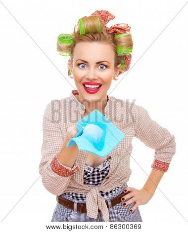 Funny young surprised housewife holding rag / wipe with foam / soap isolated on white. Pin-up girl poster