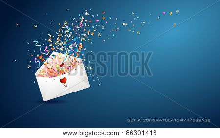 Letter of surprise on red background.