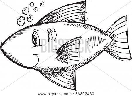 Doodle Sketch Fish Vector Illustration Art