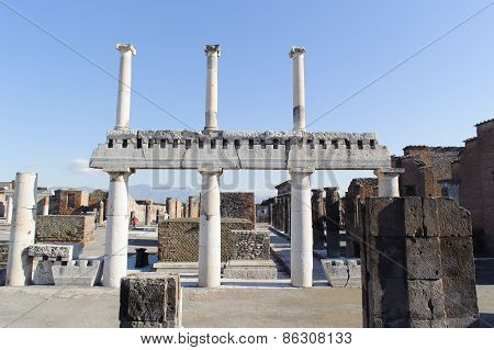 Naples, Italy - January 19, 2010: Structure Of Basilica In Pompeii.