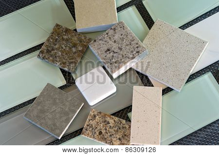 Backsplash Tiles And Quartz Countertop Samples