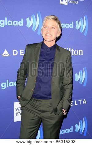 LOS ANGELES - MAR 21:  Ellen DeGeneres at the 26th Annual GLAAD Media Awards at the Beverly Hilton Hotel on March 21, 2015 in Beverly Hills, CA
