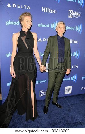LOS ANGELES - MAR 21:  Portia deRossi, Ellen DeGeneres at the 26th Annual GLAAD Media Awards at the Beverly Hilton Hotel on March 21, 2015 in Beverly Hills, CA