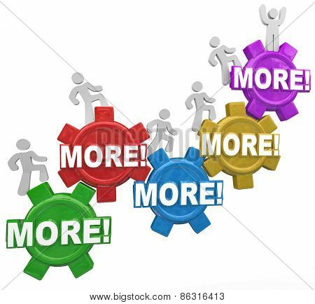 More words in gears and people climbing to achieve new heights in efficiency, productivity, effectiveness, results and outcomes