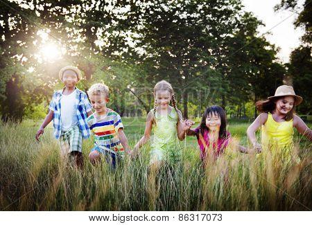 Diversity Children Childhood Friendship Cheerful Concept