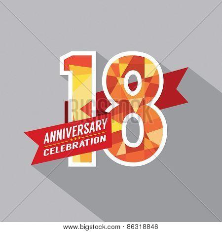 18Th Years Anniversary Celebration Design.