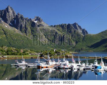 Scenic yacht marina in Norway
