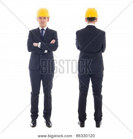 Front And Back View Of Handsome Business Man In Yellow Builder's Helmet  Isolated On White