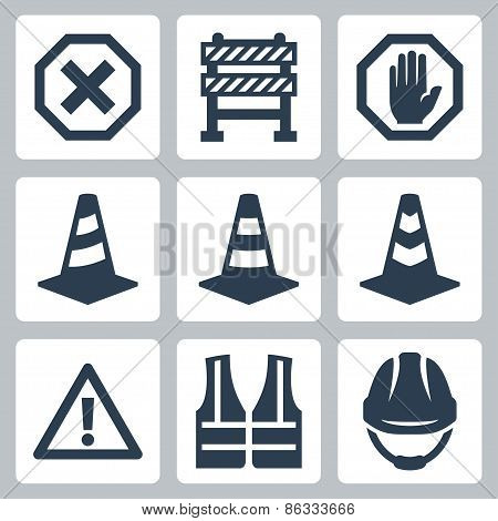 Warning And Job Safety Related Vector Icons Set