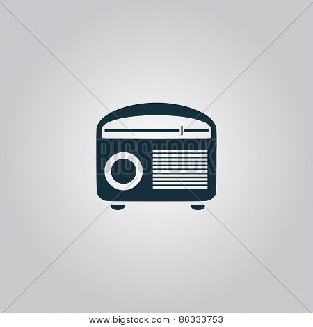 Retro revival radios tuner. Flat web icon, sign or button isolated on grey background. Collection modern trend concept design style vector illustration symbol poster