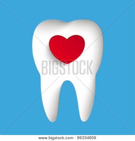 Blue Background Tooth Hole Heart