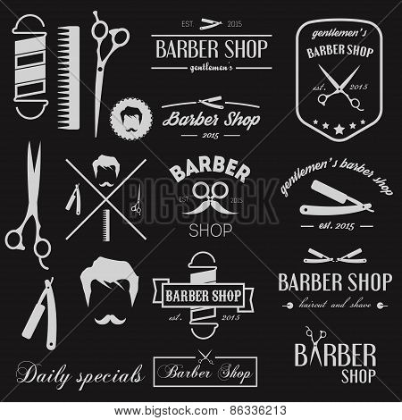 Set of logo, elements, icons and logotypes for barbershop