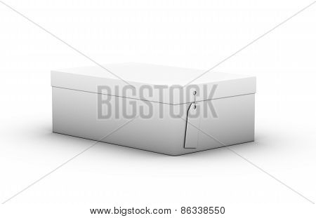 Shoebox With A Tag On A White Background