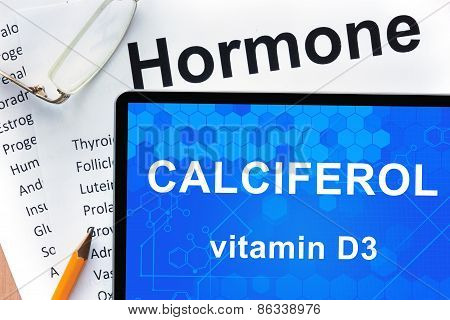 Papers with hormones list and tablet  with words Calciferol (vitamin D3) . Medical concept. poster