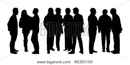 People Talking To Each Other Silhouettes Set 3