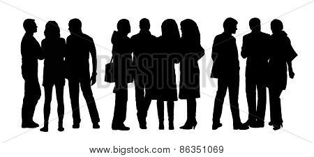 People Talking To Each Other Silhouettes Set 9