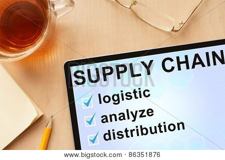 Tablet with words supply chain management.