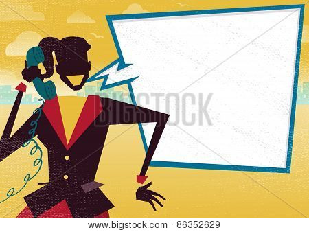 Businesswoman Is Happy On Telephone With Large Speech Bubble.