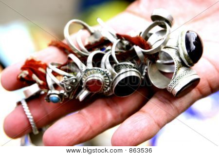 Silver rings in the hands of a woman