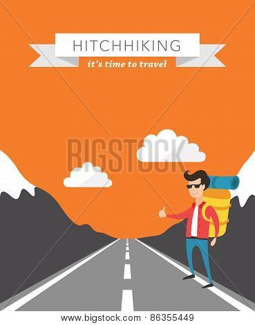 Hitchhiking flat vector background