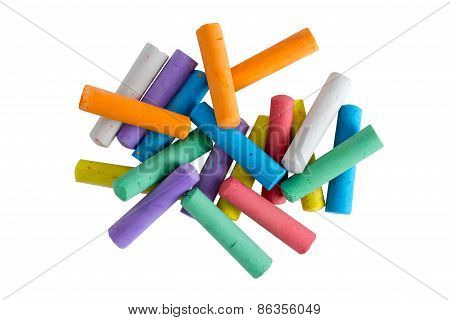 Heap Of Multicolored Chalks For Children