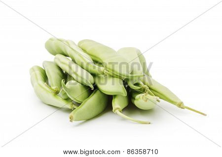 heap of green beans in pod isolated